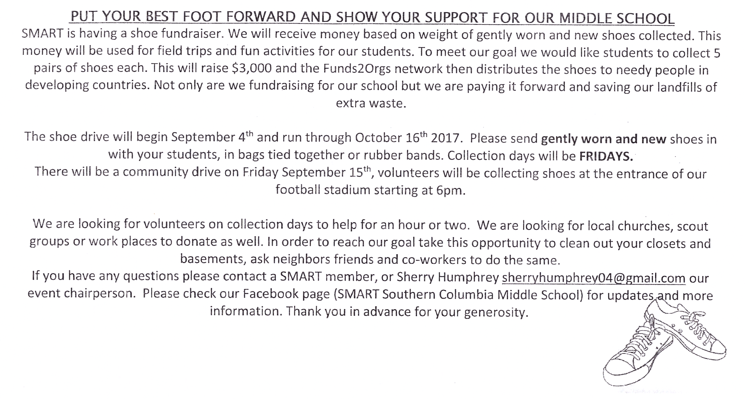 Shoe Donation information